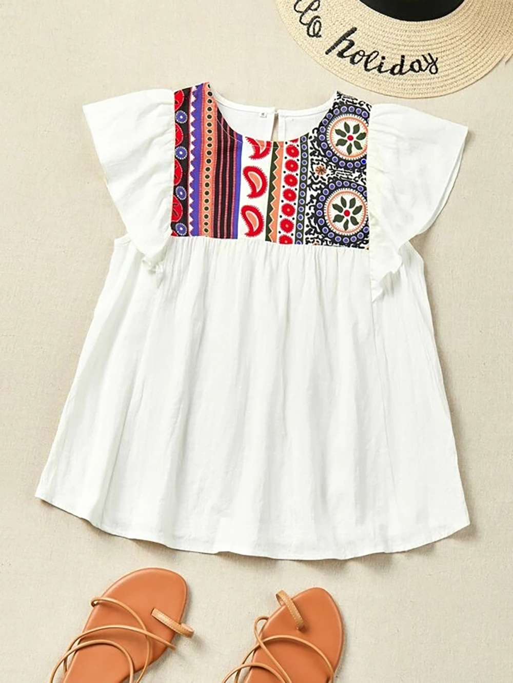ethnic embroidery loose big swing short sleeve mid-length top NSDF1553