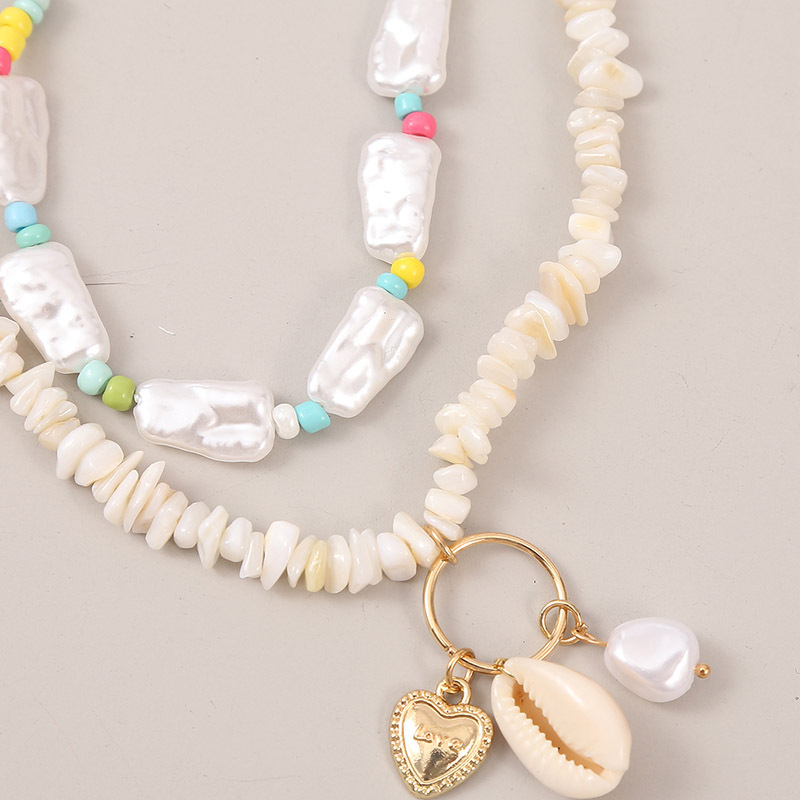 Fashion pearl gravel long shell necklace woven rice bead pendant necklace wholesale NHLA258461
