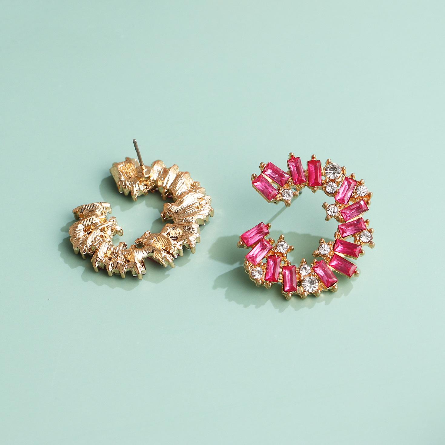 fashion exaggerated multi-layer acrylic diamond geometric full diamond earrings girls retro generous temperament earrings wholesale nihaojewelry NHJJ220049