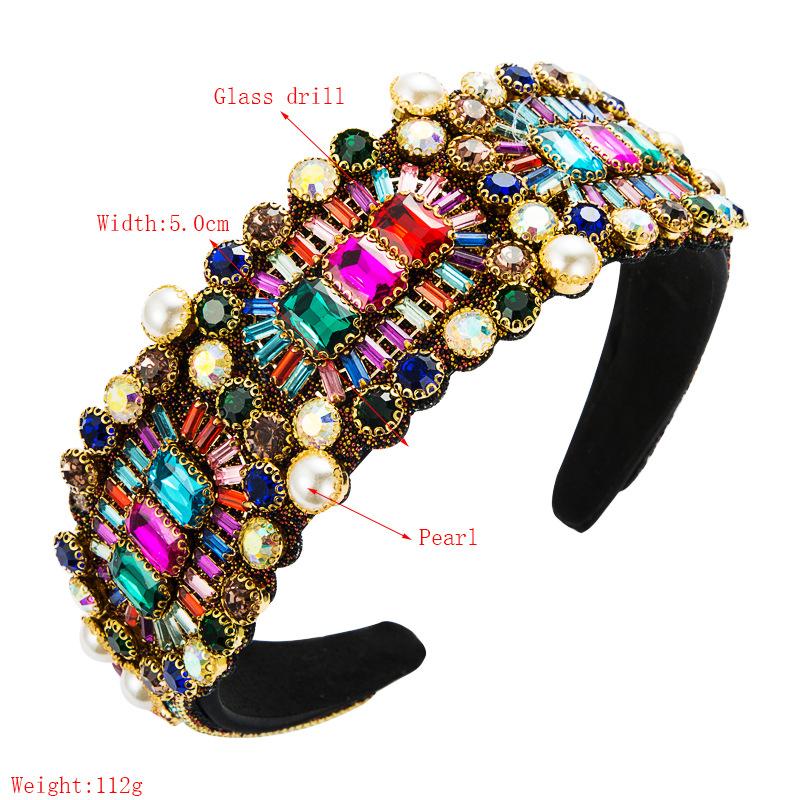 new baroque luxury retro pearl wide-brimmed inlaid colorful glass full diamond headband NHLN268092