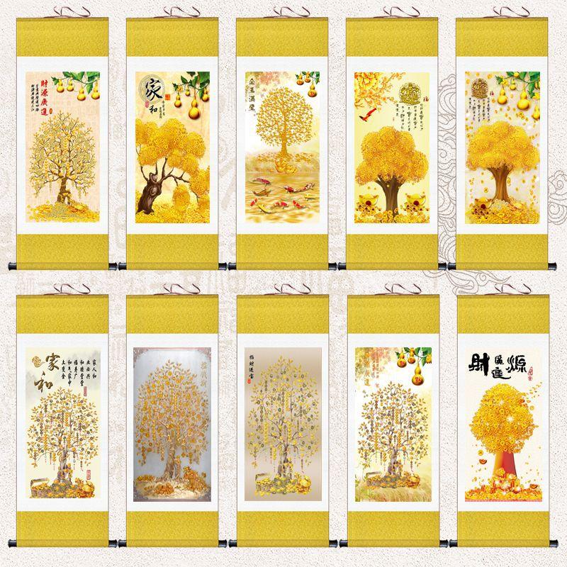 中式玄关装饰画走廊过道竖版壁画发财树挂画招财摇钱树墙画卷轴画