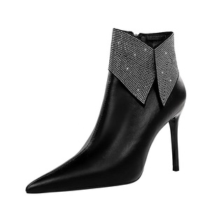 173-3 European and American wind fashion show thin and sexy female boots fine party with pointed shining diamond with hi