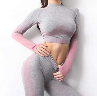 Net red fitness pants women's peach hips gradient stripes tight sexy slim yoga sports stretch fitness top