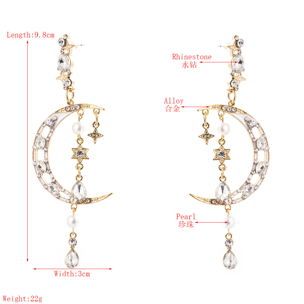 Fashion Pearl Inlaid Rhinestone Xingyue Super Flash Earrings Long Fringe Earrings for women nihaojewelry Wholesale NHLN214413