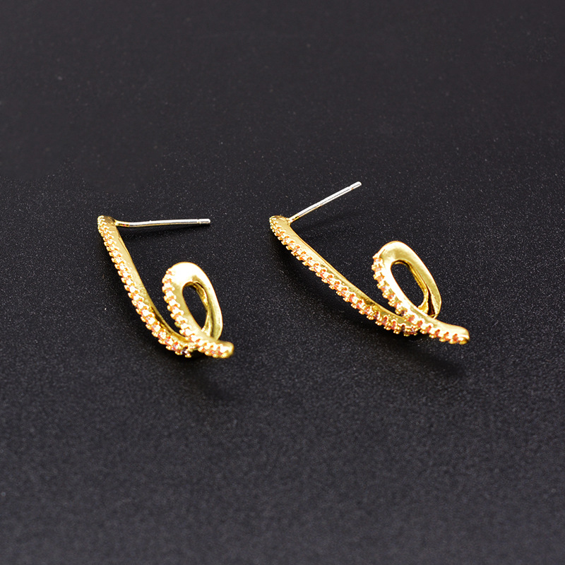Fashion S-shaped micro-inlaid zircon linear wave twist earrings simple earrings women NHNT206022