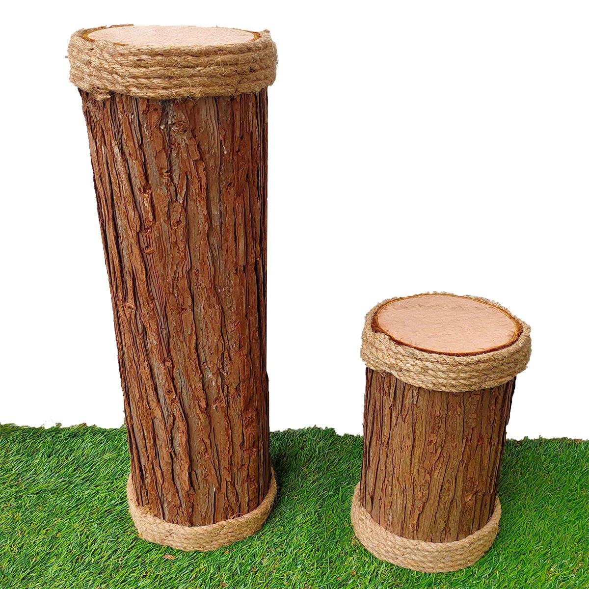 仿真木桩麻绳木墩空心木桩婚庆路引开业橱窗展厅装饰道具