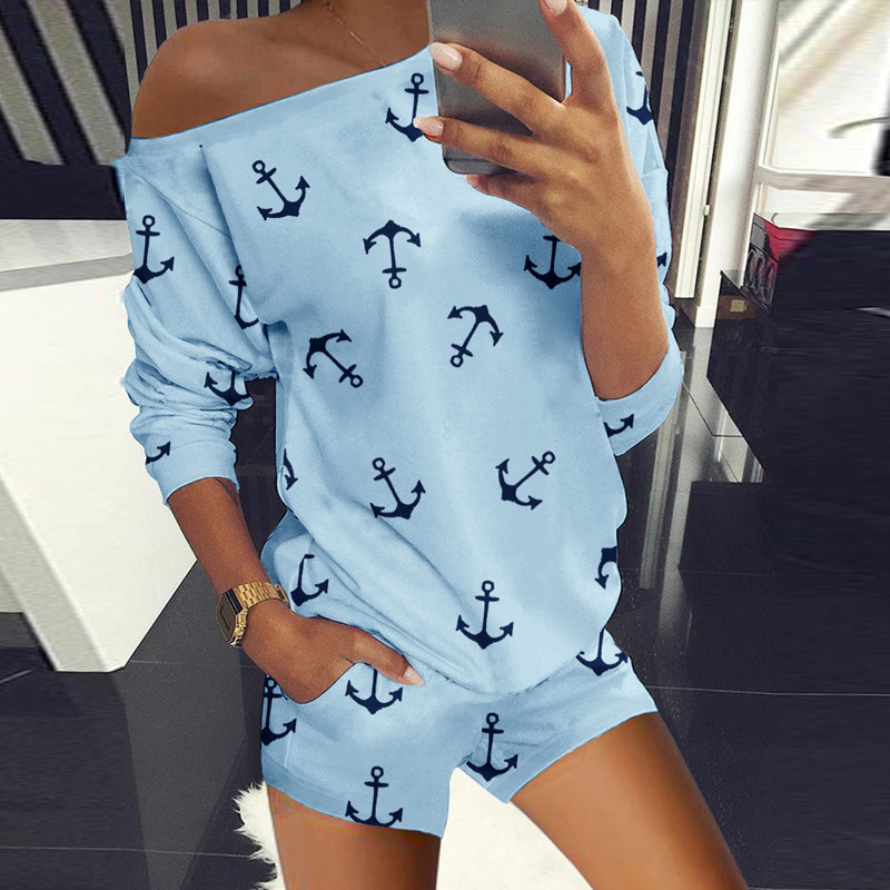 women's round neck anchor printed long-sleeved shirt casual suit NSYF2175