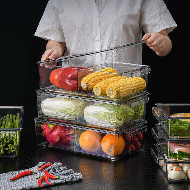 冰箱食物收纳盒大容量带盖密封储物罐加厚保鲜盒透明厨房收纳框