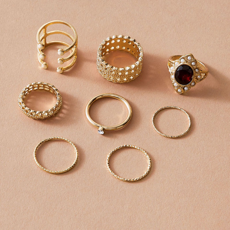 Fashion golden opening rings  pearl ring 8-piece set simple hollow dripping oil diamond ring wholesale nihaojewelry NHGY238199