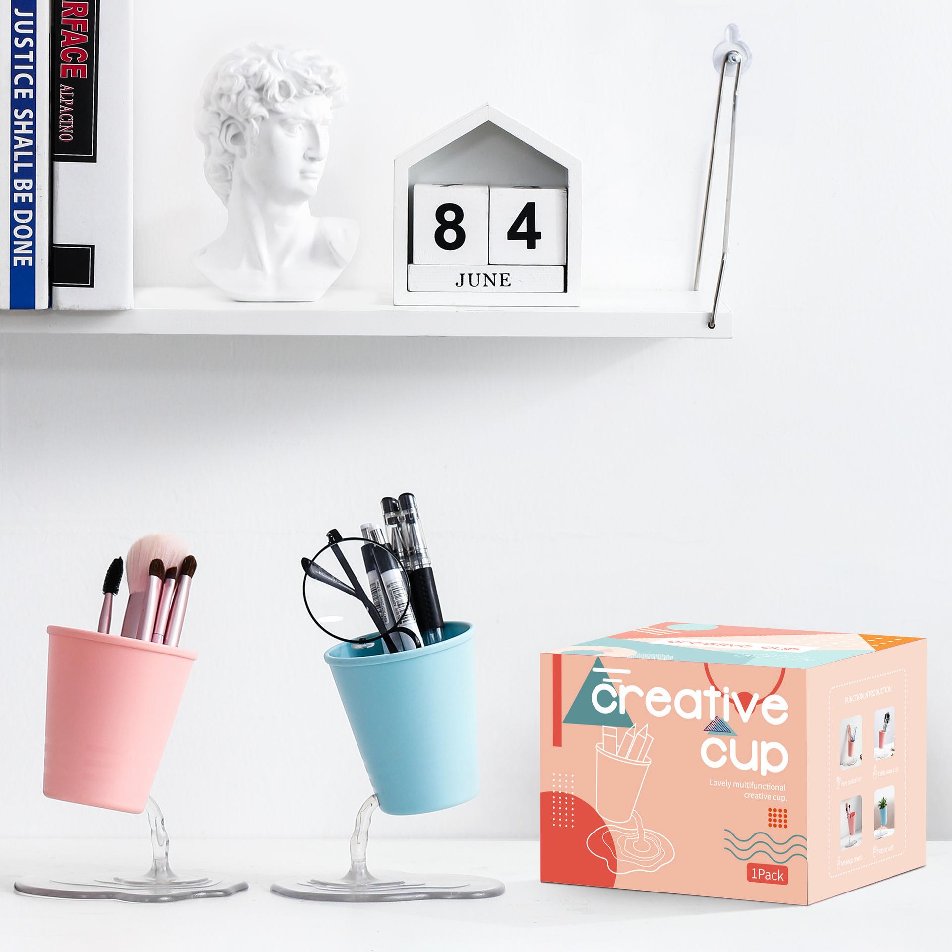 厂家直销创意悬浮漏水笔筒多功能桌面化妆品收纳餐具收纳一件代发