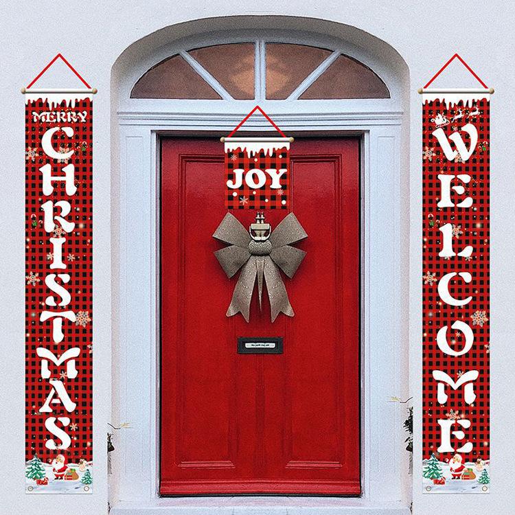 亚马逊跨境节日门帘圣诞节装饰门联万圣节旗帜横幅挂旗可定制对联