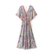 速賣通Ebay女裝波西米亞風印花長裙女 2019夏季歐美女裝連衣裙