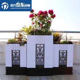 户外洛洛可花箱槽马路护栏花坛造型市政道路室外景观种植定制花盆