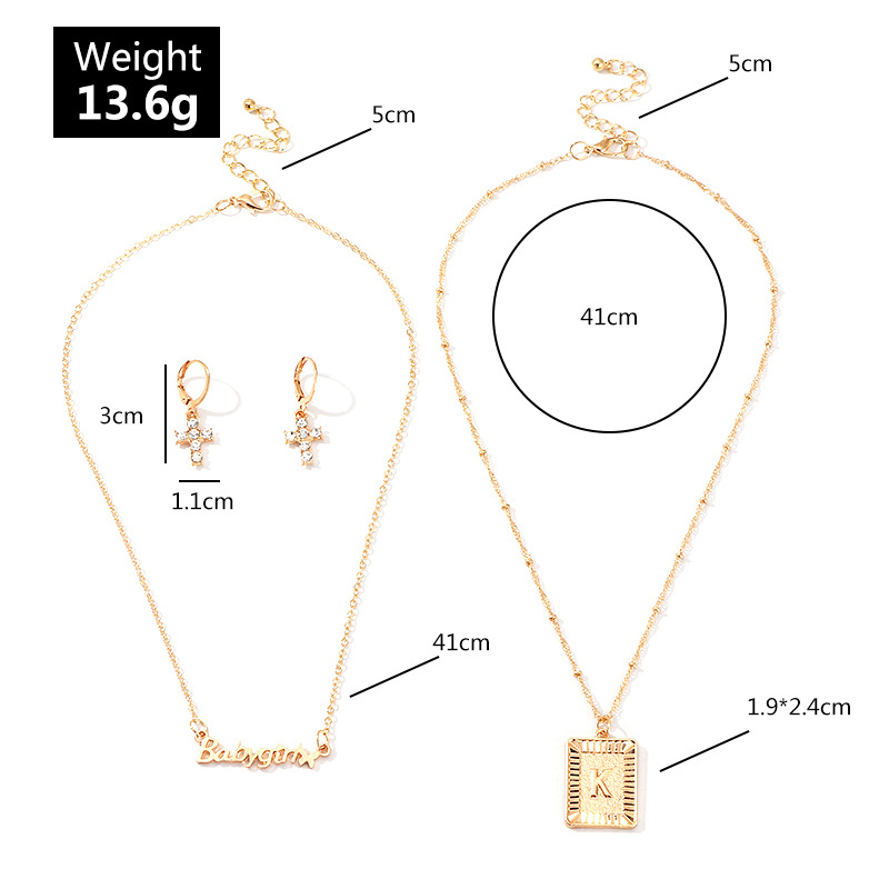 Jewelry Wholesale Creative Fashion Diamond Cross Ear Hoop Letter Pendant Necklace Set NHNZ205153