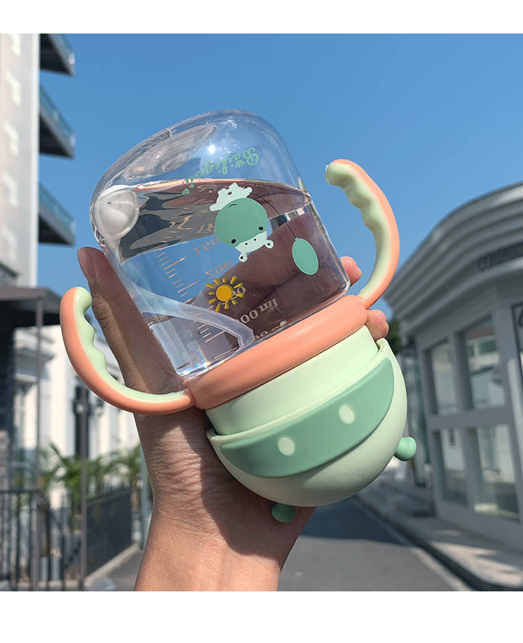 Fashion cartoon hippo print cute plastic water cup children portable handle anti-snorkel drinking cup car water cup NHtn203948