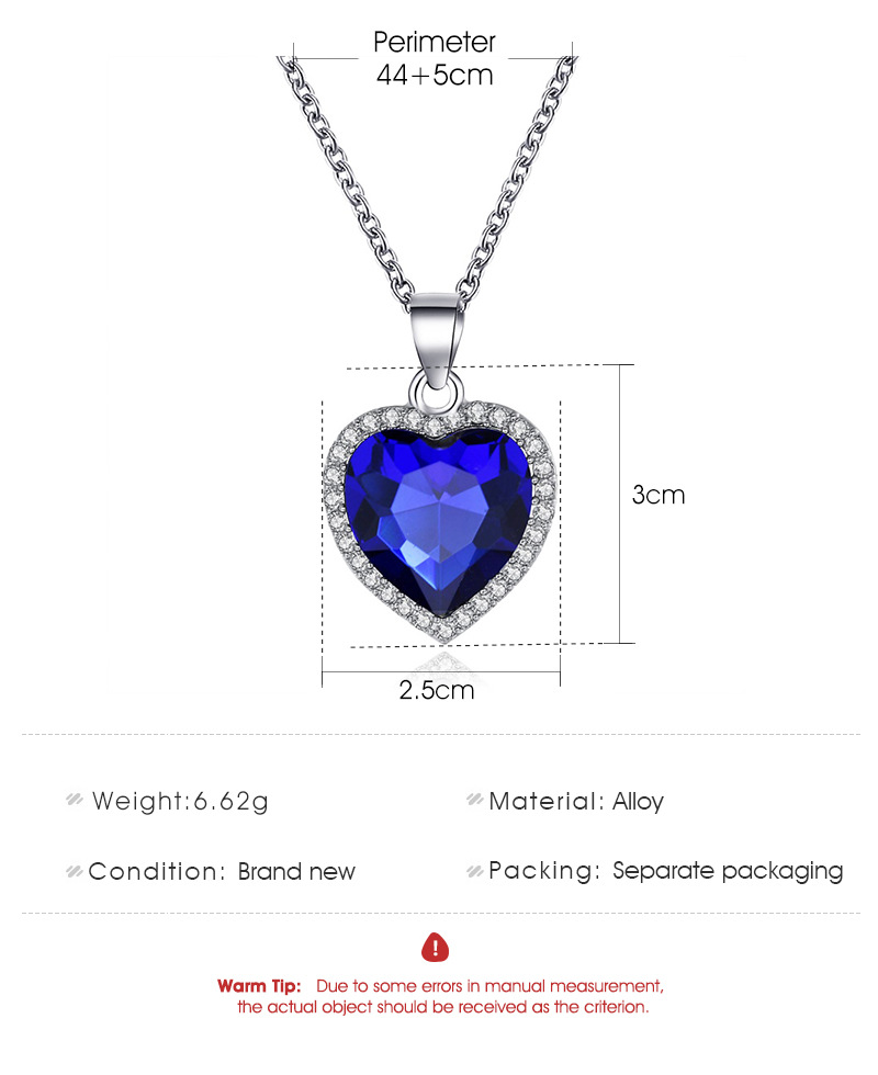new classic ocean heart  Titanic crystal gem loveshaped necklace clavicle chain NHCU248265