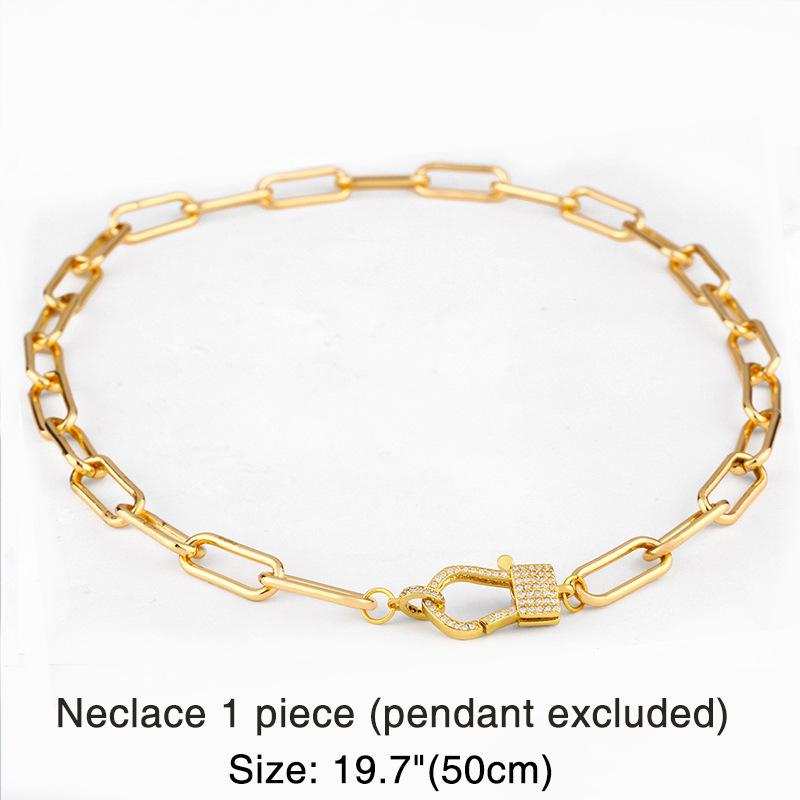 necklace thick chain necklace rainbow pendant necklace colorful zircon Hiphop necklace wholesale NHAS218076