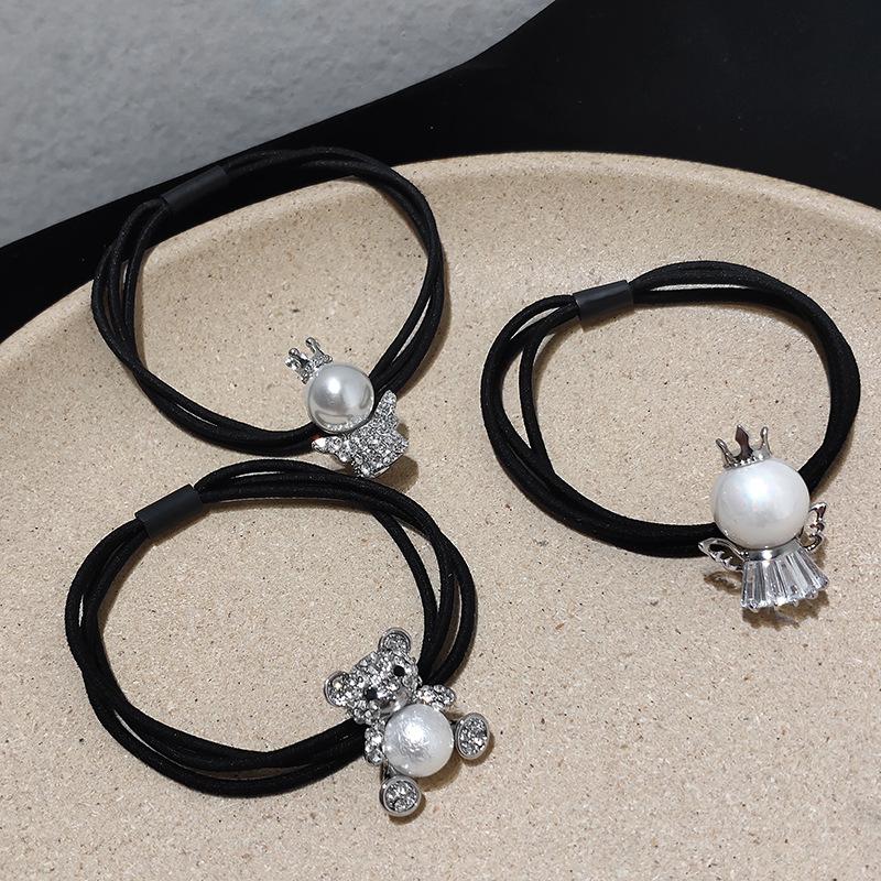 korea simple Diamond Pearl hair ring set  NHAR304004