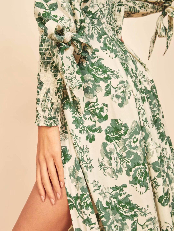 retro print long sleeve long dress NHAM284429