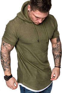 Summer men's casual fashion solid color short-sleeved T-shirt with hood