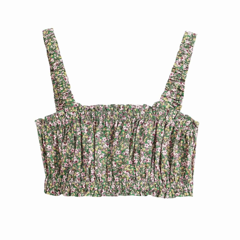2020春季新款女装欧美街头时尚性感百搭印花短版吊带上衣w03 2170