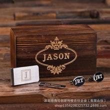 跨境爆款木制男士領夾套裝禮盒創意個性禮物定制刻字紀念品