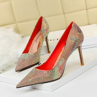 998-1 the European and American wind fashion high heels for women's shoes high heel with shallow mouth party pointed color matching diamond women's shoes