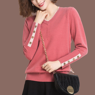 Sweater women's fall/winter 2020 loose V-neck knitted sweater