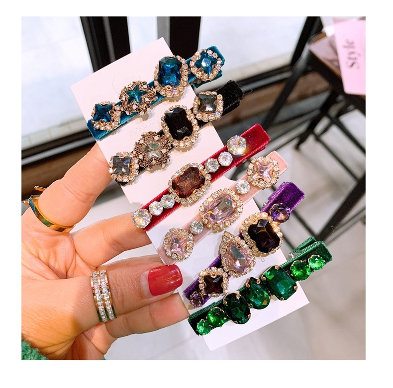 Korean simple retro rhinestone court style velvet side clip duckbill clip hairpin NHHD200303