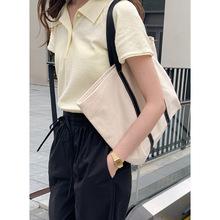 2020夏季新款純色休閑polo衫女韓版翻領短袖針織T恤上衣顯瘦薄款