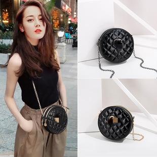 Classic fashion rhombus chain small round bag letter one-shoulder female bag all-match elegant mini messenger handbag foreign trade