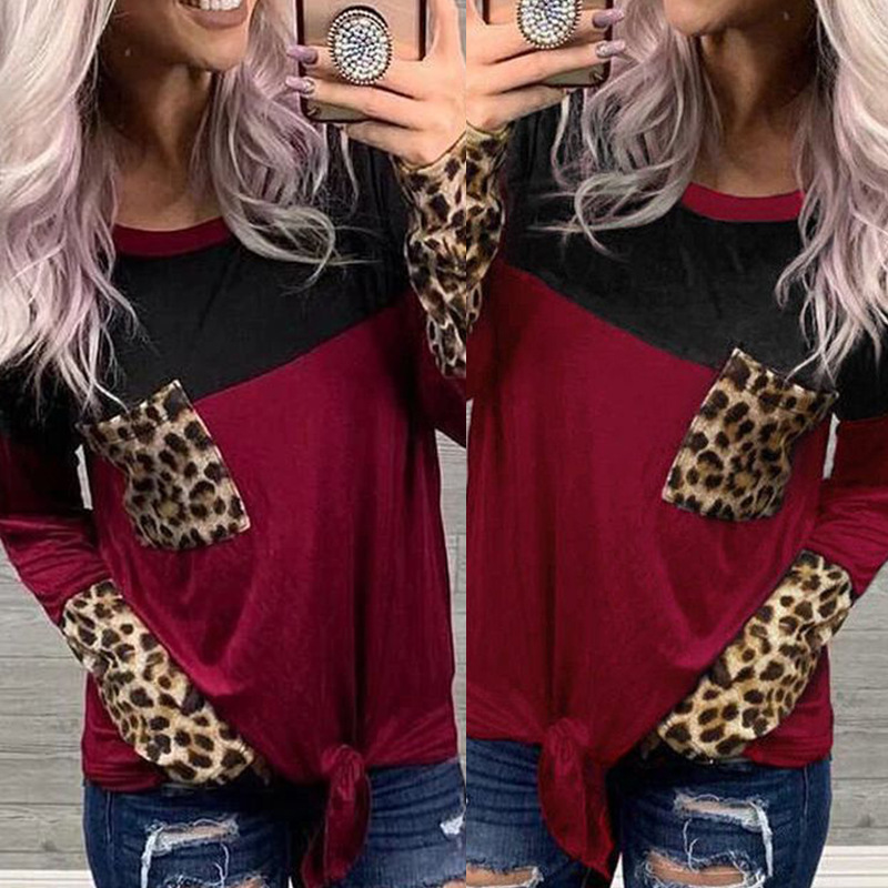 autumn and winter new hot style women's long-sleeved stitching round neck T-shirt top NSKX5975