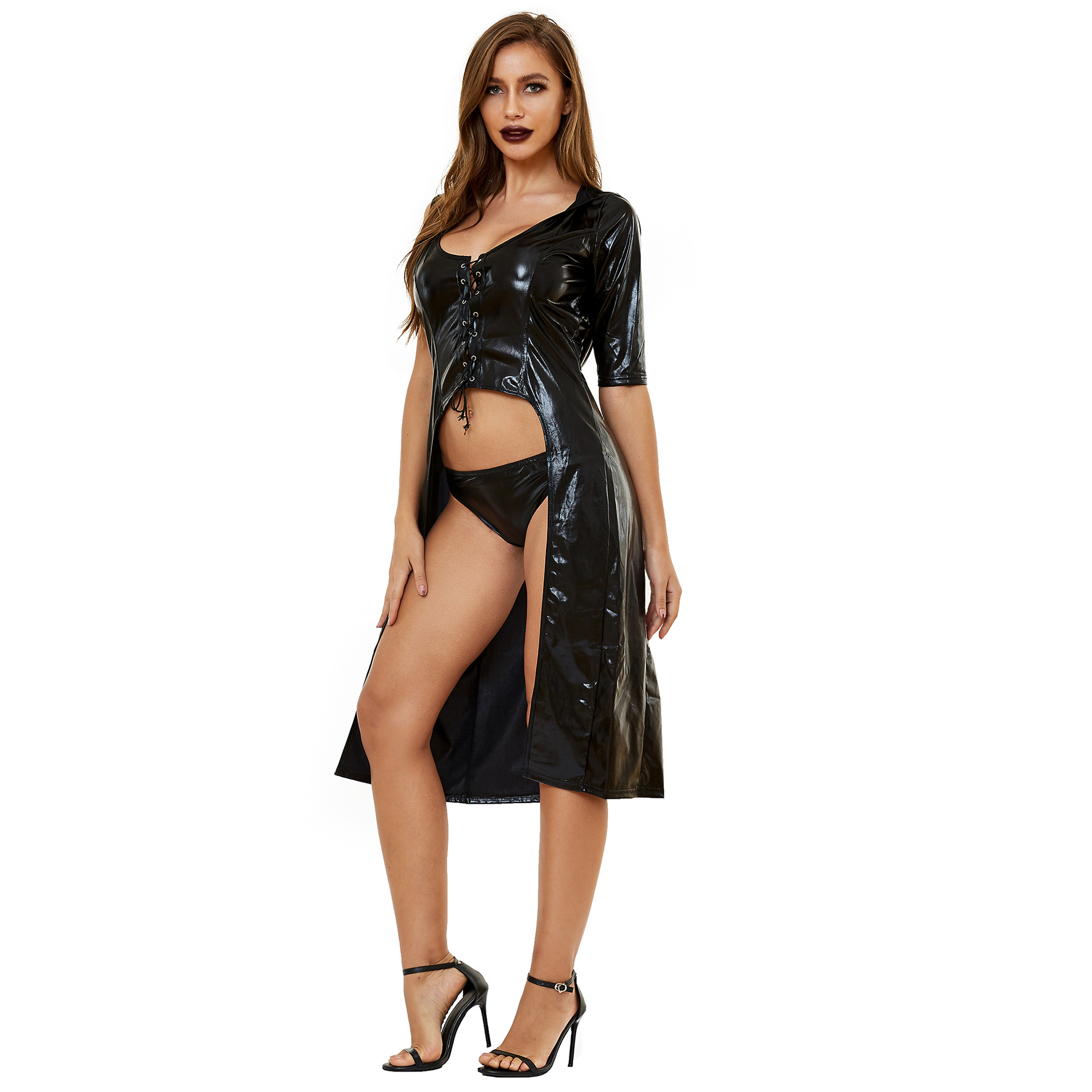 witch death god patent leather cosplay costume nihaostyles wholesale halloween costumes NSMRP78869