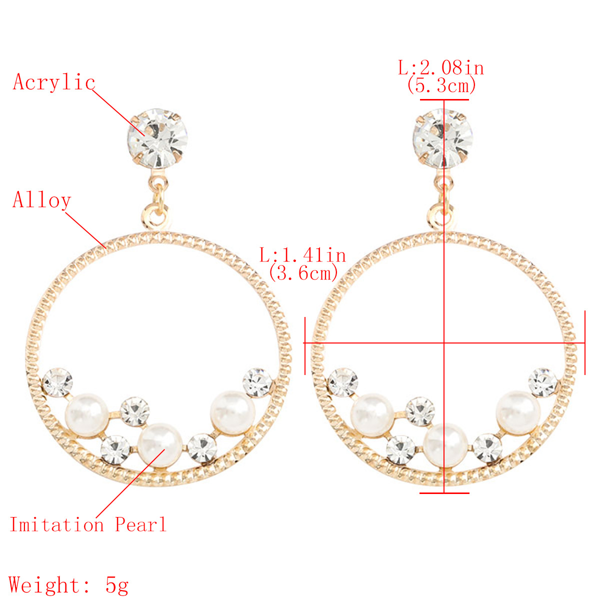 New fashion round alloy acrylic earrings with diamonds and pearls for women wholesale NHJE207246