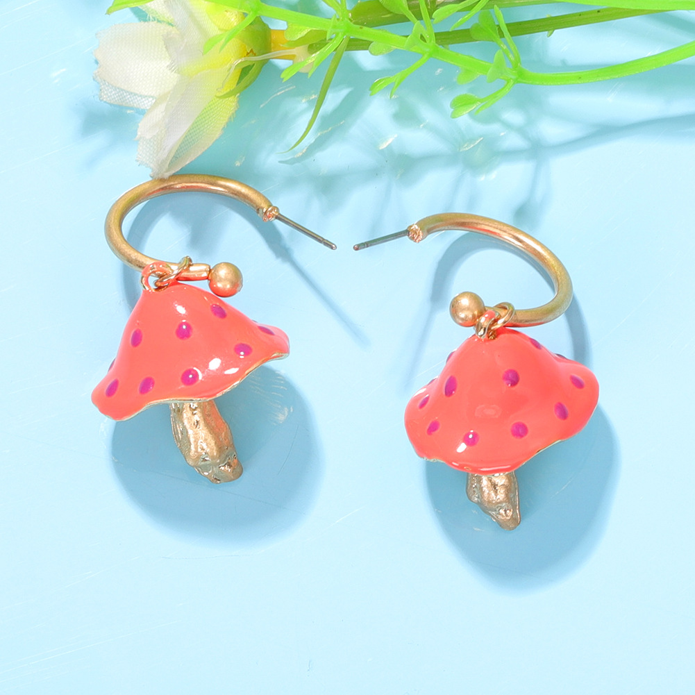 fashion colored dripping mushroomshaped earrings cute candy twocolor exaggerated earrings wholesale nihaojewelry NHJQ227706