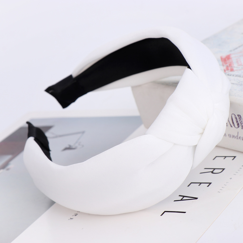 New candy-colored space cotton knotted ladies hair hoop Korean solid color simple hair accessories suppliers china NHHV202535