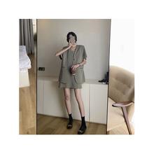 夏季新品2020韓版純色氣質休閑西裝外套吊帶連衣裙兩件套女可代發