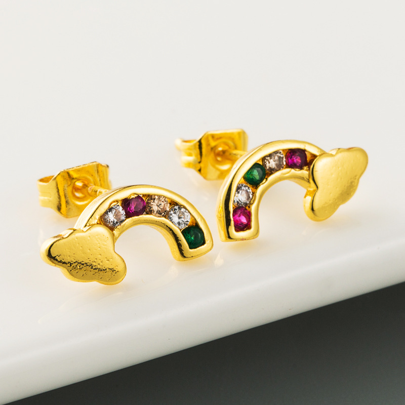 Hot-sale fashion creative rainbow cloud series earrings women micro-set zircon hypoallergenic copper earrings wholesale  NHLN216480