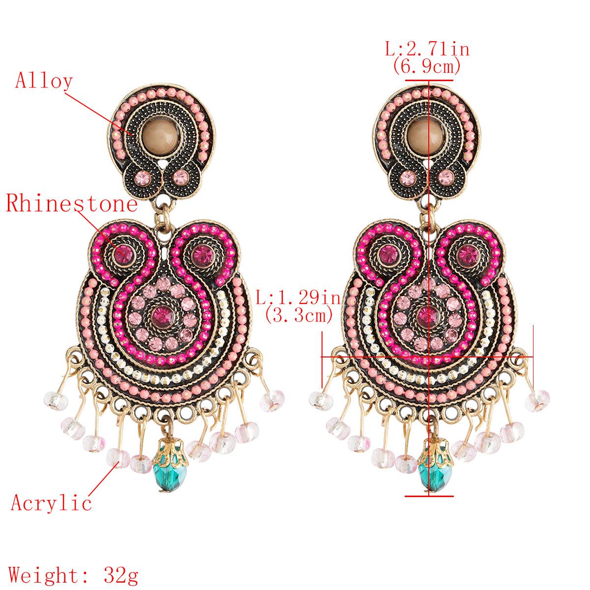 multilayer alloy diamondstudded acrylic tassel retro bohemian ethnic earrings wholesale nihaojewelry NHJE238812
