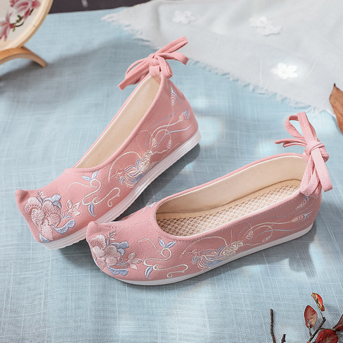 Chinese hanfu shoes for women bow shoes ancient Han Dynasty shoes ancient women shoes embroidered shoes with raised head flat bottom