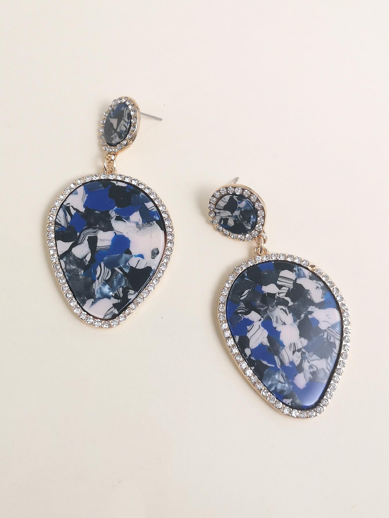 fashion retro style leaf drop marble pattern earring pendant alloy diamond supply wholesale nihaojewelry NHUI221123