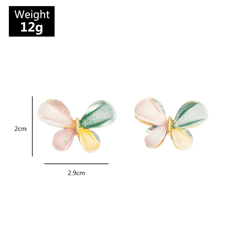 Fashion Color Mixing Butterfly Resin Contrast Color Alloy Earrings