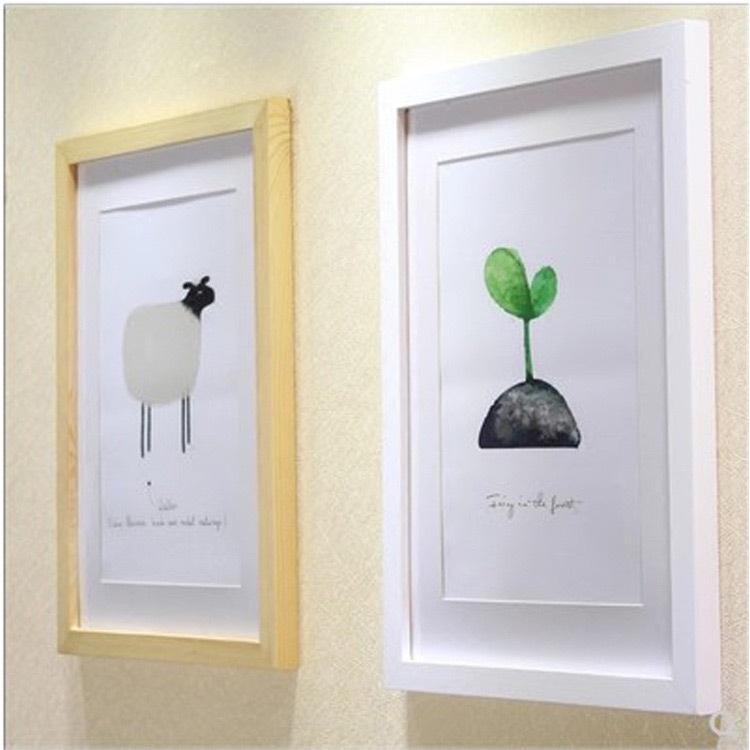 批发实木相框照片墙挂墙摆台木质画室画框a4-36寸4开8K印logo定制