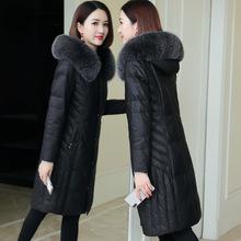 海寧2020冬新款真皮綿羊皮羽絨服狐狸毛領女長款修身顯瘦皮草外套