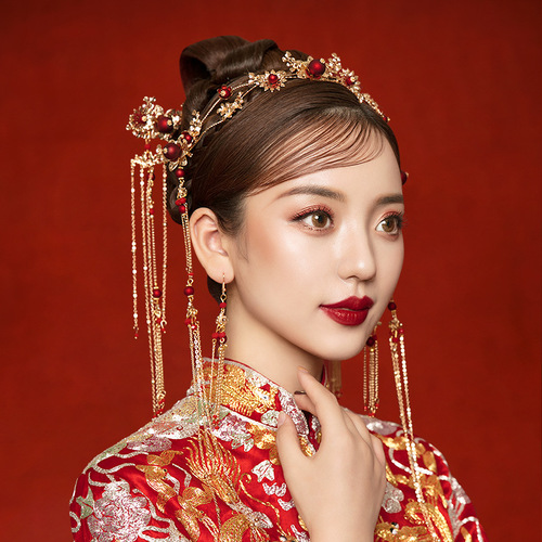 Bride Xiuhe dress headdress Chinese Xiuhe wedding phoenix crown step shake toast dress hair ornaments antique hairpin
