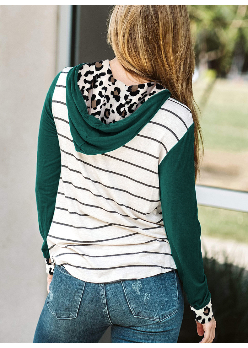 women new style striped stitching long-sleeved casual hooded ladies pullover  NSSI2392