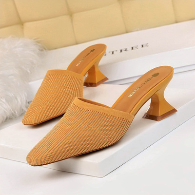 9833-1 han edition fashion everyday lazy slippers thick with high with wool hollow lag contracted joker female slippers