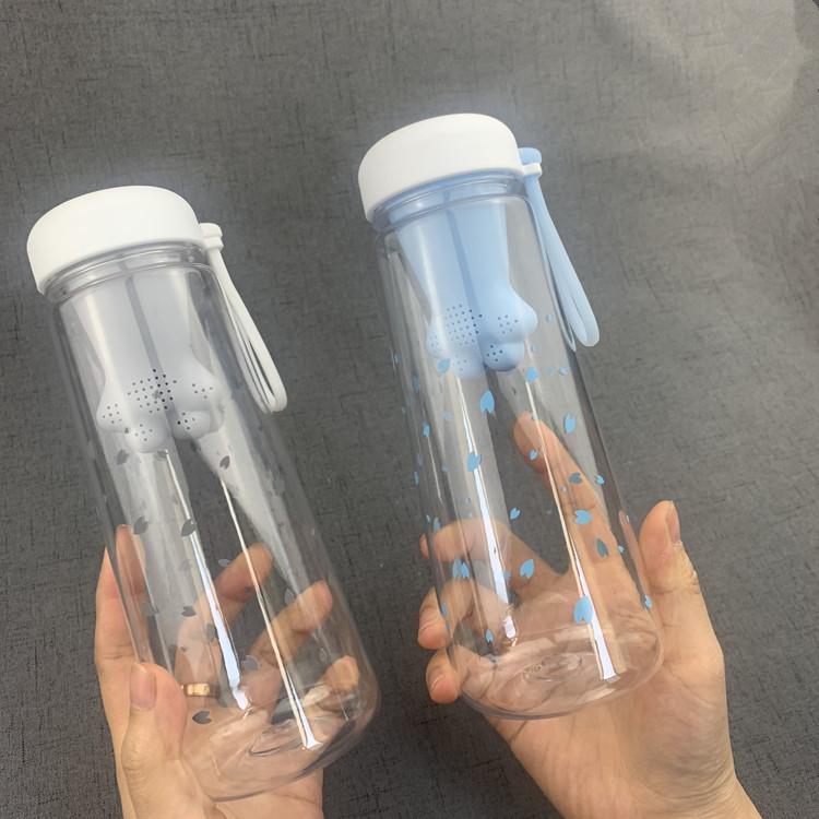 夏季女生潮流时尚可爱猫爪塑料杯防摔防漏pc太空水瓶学生实惠水杯