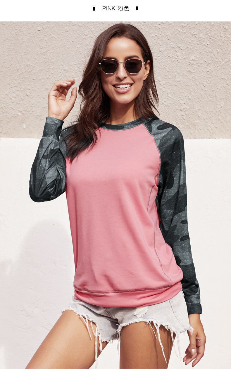 women autumn new camouflage long-sleeved stitching street style round neck pullover  NSSI3495