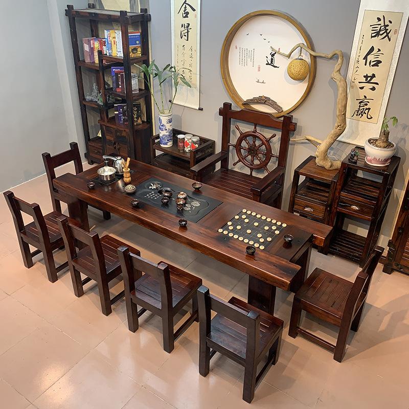 茶座桌椅套装老船木茶桌椅组合中式实木茶几办公室茶具家用功夫泡